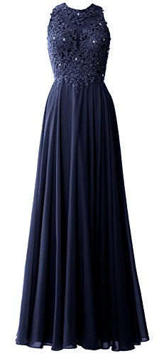 Navy High Elegant Lace Dark Dress Party Formal Prom Chiffon MACloth Long Gown Neck Evening Oa6Oqw
