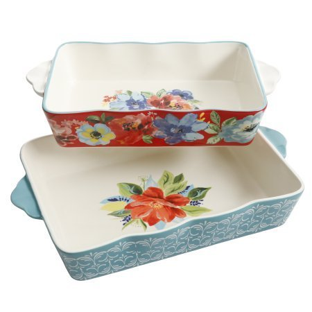 The Pioneer Woman Spring Bouquet 2-Piece Baker Set + Cleaning Cloth