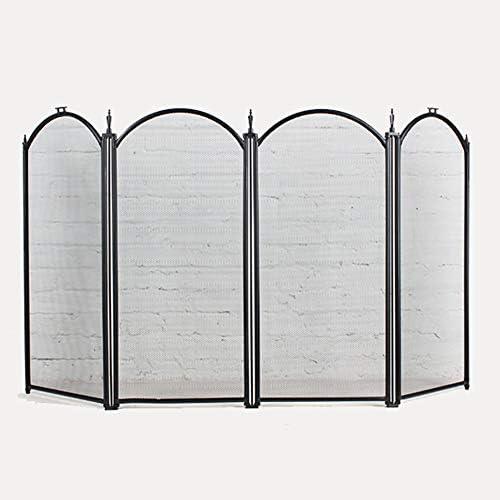 折りたたみ式暖炉スクリーンスパークガードフェンス、安全バリアディバイダー用4パネルスパークフレームメッシュ、安全プロテクター屋内装飾、130×70cm