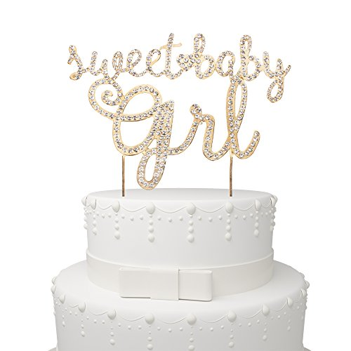 Sweet Cakes Baby (Sweet Baby Girl Rhinestone Gold Metal Cake Topper Party Decoration For Baby Shower 1st month/year Kids Birthday.)