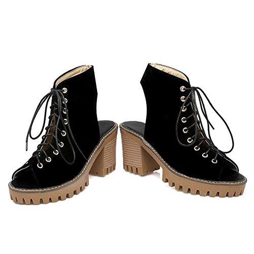 COOLCEPT Mujer Moda Cordones Sandalias Punta Abierta Tacon Ancho Talon Abierto Zapatos Negro