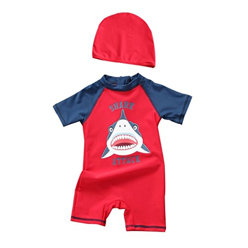 Boys Swimsuit With Cap, Kids Swimming Wear Surfing Water Sports Sun Protective