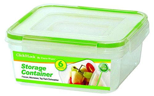 Euro Freezer - Euro-Ware 6 Piece Click and Lock Stay Fresh Square Storage Containers with Lids, Clear