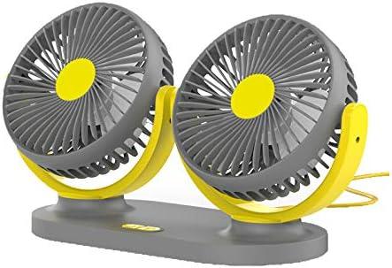 daily supplies USB Swing Universal car Fan 12V//24V Double-Head Electric Automatic Cooling Fan 360/° Rotating 3-Speed Adjustable Desktop Fan for SUV//Truck//Caravan