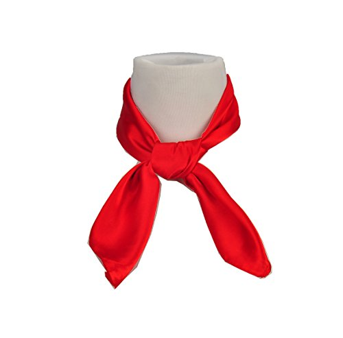 Women's Fashion Soft Satin Square Scarf Set Head Neck Multiuse Solid Colors Available (Red)