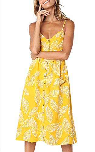 (Women's Summer Floral Bohemian Spaghetti Strap Button Down Midi Dress with Pockets Yellow2,L)