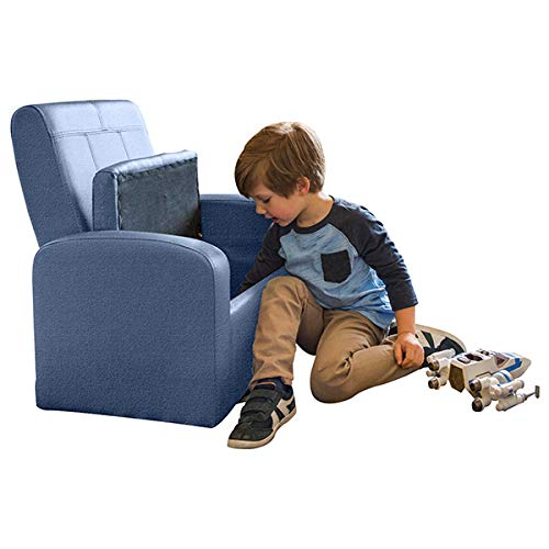 STASH Comfy Folding Kids Toddler Plush Sofa Lounge Chair with Storage Chest Ottoman Cute Mini upholstered Armchair for Little boy Girl Children Play-Room Toy Modern Home Sitting Baby Furniture,Blue