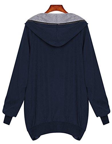 Zarlena Femme Fullzipper Hoodie Tunic hooded Grande à Capuche Zipper Cardigan Bleu
