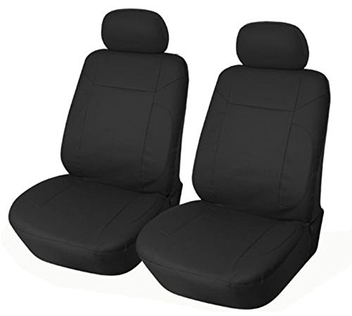 OPT Brand. Vinyl Leather 4PC SET Toyota Corolla Prius Highlander Camry 4Runner Land Cruiser Avalon Yaris RAV4 Prius C V 2 Front Car Auto Seat Covers, Solid Black Color. 77153-BK
