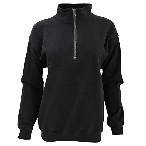 - Gildan Adult Vintage 1/4 Zip Sweatshirt Top (M) (Black)