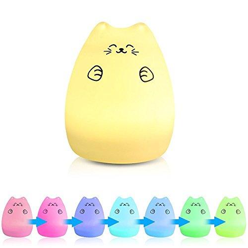 7 Colors Cat LED USB Children Animal Night Light Silicone Soft Cartoon Baby Nursery Lamp Breathing LED Night Light (Lucky Cat)
