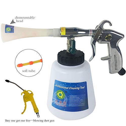 GOCCIDA High Pressure Car Cleaning Gun with Weighted Tube Interior Washing Air Tornado Gun Automotive Air Pulse Cleaning Equipment Nozzle Sprayer with 1 Liter Foam Bottle