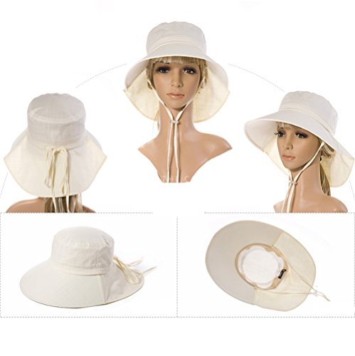 Siggi Summer Flap Cover Cap Cotton UPF 50+ Sun Shade Hat with Neck Cord Wide Brim for Women Beige