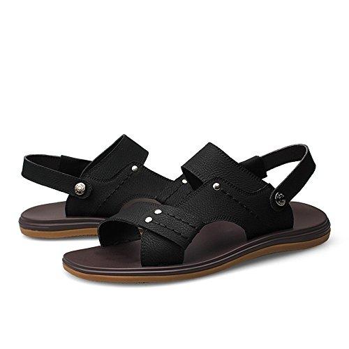 Echtes Männer Casual Strand Herren Rutschfeste Leder Einstellbar Schuhe Backless Sandalen für Flop Flip Schwarz Sohle Hausschuhe Sandalen dZxZCwU