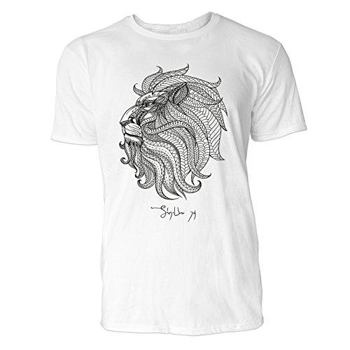 SINUS ART ® Löwenkopf mit Ornamenten Herren T-Shirts in Weiss Fun Shirt mit tollen Aufdruck
