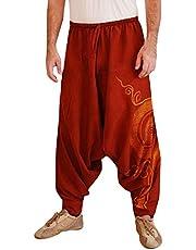 MINIKIMI Harembroek voor heren, yogabroek en hippiebroek voor mannen, comfortabele losse harembroek, aladinbroek, yogabroek, joggingbroek, sportbroek