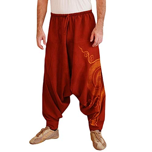 TIFENNY Men Ethnic Printed Overalls Casual Pocket Sport Yoga Work Casual Trouser Fashion Loose Burger Pants Sweatpants Red - Trimmer Red Sparkle