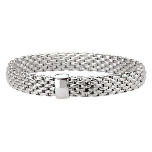 Rhodium over 925 Silver Thick Woven Stretch Bangle Bracelet- 7.5 IN by Element Jewelry