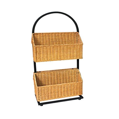 Chi Cheng Fang Electronic business Magazine Holders Creative handmade rattan racks European-style iron bookshelf Simple office newspaper rack living room 2 layers storage basket (Color : Yellow) ()