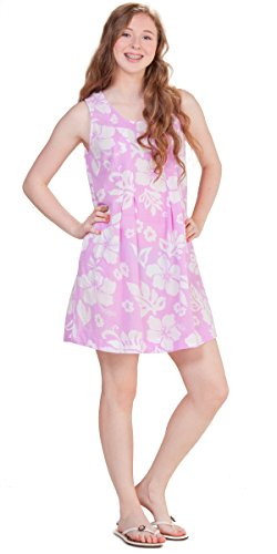 (Peppermint Bay Sleeveless Short Cotton Sundress in Maui Berry (Small (2-4), Orchid/White Floral))