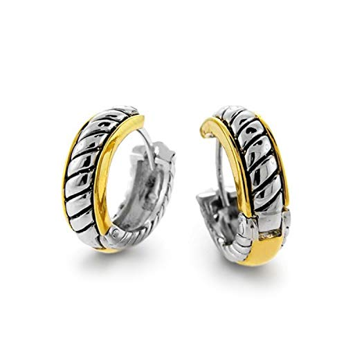 Two Tone Twist Cable Rope Kpop Huggie Hoop Earrings For Women For Men Hinge Gold Silver Plated Brass
