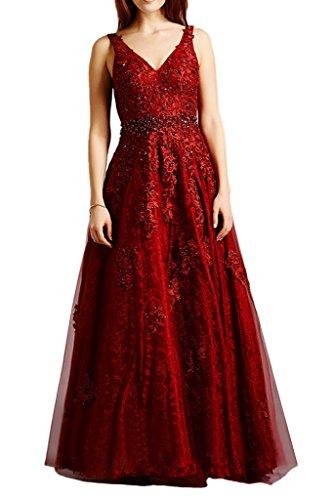 Milano Bride Glamour Spitze Tuell Promkleid Abendkleid mit Traeger Lang A-Linie Steine Strass Rueckenfrei