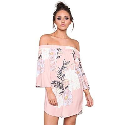MEEYA Off-Shoulder Dress Womens Boho Dress Lady Summer Sundrss Maxi Beach Dress