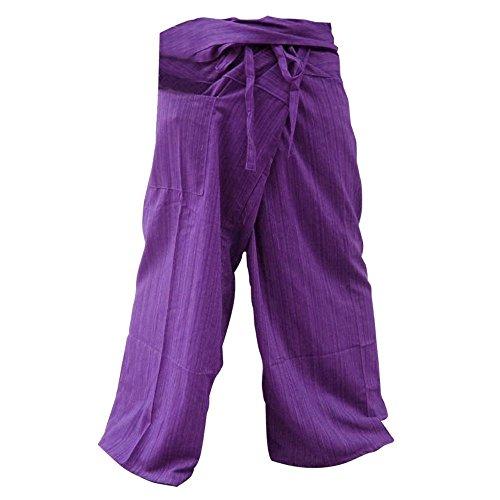 Thai Fisherman Pants Yoga Trousers Free Size Plus Size Cotton Purple Stripe.