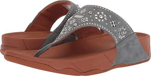 - FitFlop Women's LULU Aztek Stud Toe-Thong Sandals-Suede, Dove Blue, 7 M US