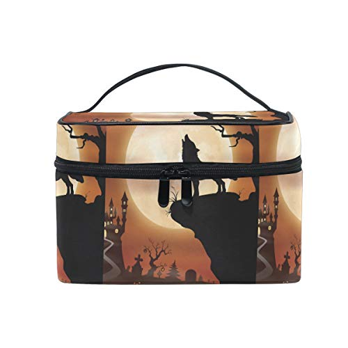 Halloween Moon Wolf Makeup Bag for Women Cosmetic