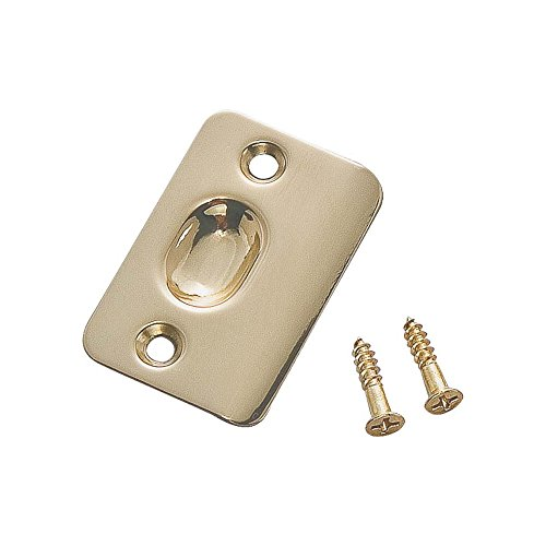 Rounded Strike Plate (National 2-1/4 Inch Round Corner Ball Catch Strike Plate - Polished Brass)
