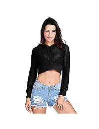 TOPUNDER Mesh Sexy Crop Sweatshirt for Women Sheer See-Through Long Sleeve Top