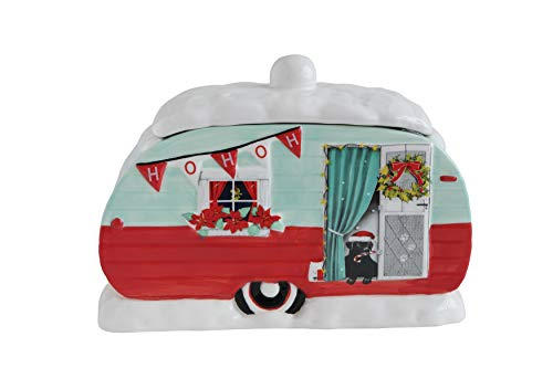 Creative Co-Op Ceramic Red & Green Christmas Camper Cookie Jar, Multicolor ()