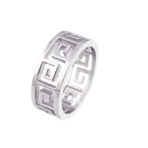Amythyst Unisex Men's and Women's Silver Tone Stainless Steel Greek Key Cut Out Band (Size 9)