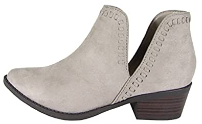 Soda Women's Slip-On Open Side Whipstiched Western Ankle Bootie (8.5 B(M) US, Clay Imsu)