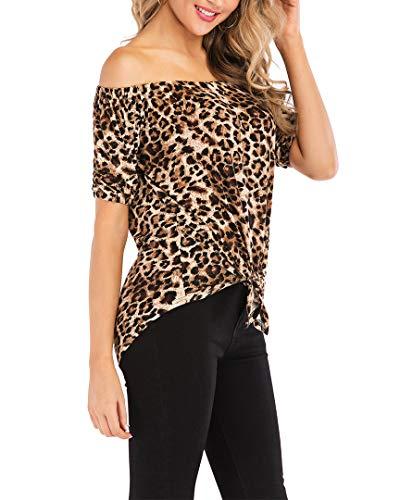 Knot Tie Tops Women Strapless Short Sleeve Cuffed Leopard Print Shirts(Leopard, XL) -
