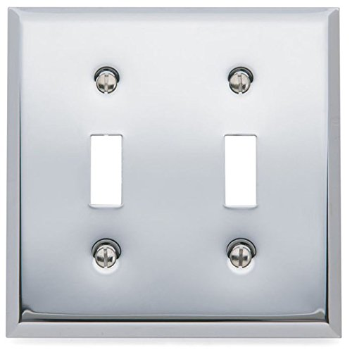 Baldwin 4761260 Beveled Edge Solid Brass Double Toggle Switchplate, Polished Chrome
