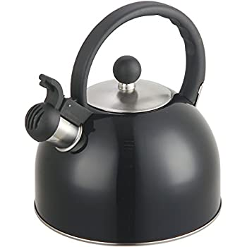 Zanzer 2.5 Liter Whistling Tea Kettle - Modern Stainless Steel Whistling Tea Pot for Stovetop with Cool Grip Ergonomic Handle
