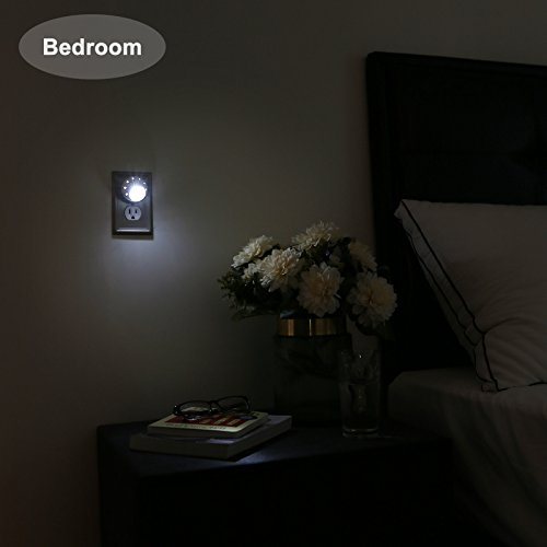 DEWENWILS Plug in LED Night Light with Light Sensor, 360° Rotating Directional Night Light, Small Size, Automatic Nightlight for Hallway, Bathroom, Bedroom, Daylight, UL Listed, Pack of 4