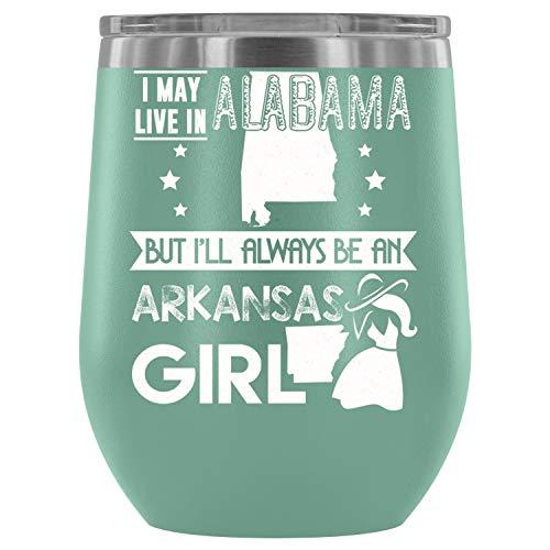 Gift Steel Stemless Wine Glass Tumbler, 12 oz, Arkansas Girl Wine Tumbler Cup, Tumbler Cup with Lid for Wine, Coffee, Drinks (12oz - Teal)