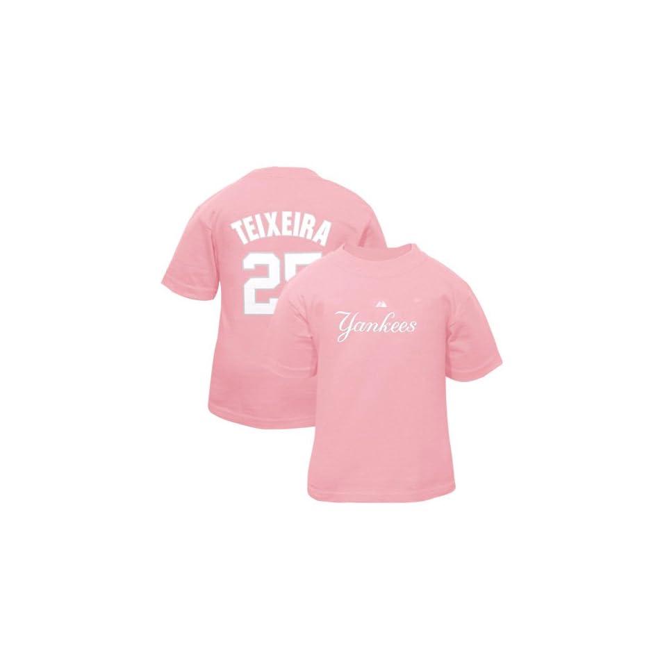 Majestic Mark Teixeira New York Yankees #25 Toddler Girls Name & Number Player T Shirt   Pink