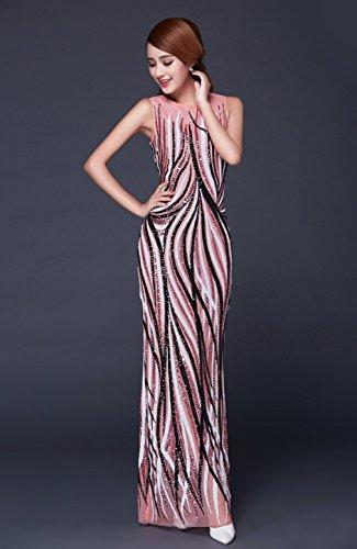 Women`s Sleeveless Dress cotyledon Scoop Neck Pink Stripe Gown Slim Dresses FwqCUx