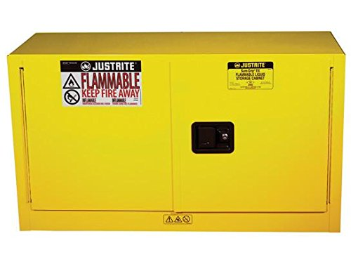 Justrite 891720 Sure-Grip EX Galvanized Steel 2 Door Self Close Piggyback Safety Cabinet, 17 Gallon Capacity, 43'' Width x 24'' Height x 18'' Depth, 1 Adjustable Shelfs, Yellow