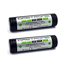 18650 35A-20A 3000mAh Flat Top High Drain IMR Orbtronic 3.7V TWO Li-ion Batteries-Protective Holder included