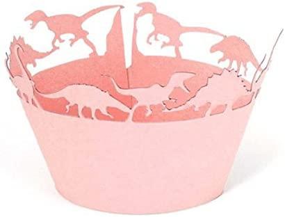PIXNOR 50pcs Rosa dinosaurio Cupcake Wrappers Cupcake Muffin ...