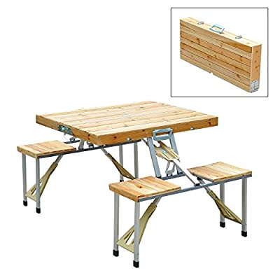 New Outdoor Garden Wooden Portable Folding Camping Picnic Table With 4 Seat