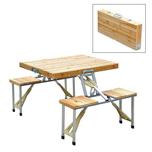 WOODEN FOLDING PICNIC TABLE IS GREAT FOR OUTDOOR PICNIC OR GARDEN SET USE