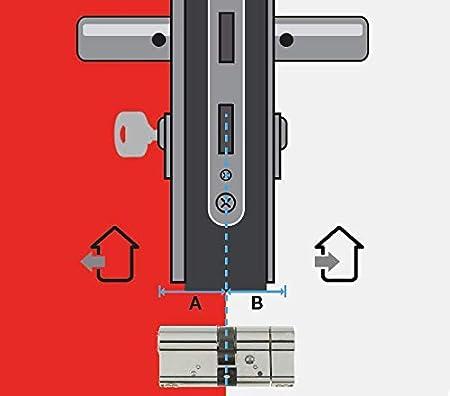 Tr/ès Haute S/écurit/é Carte de Propri/ét/é Inox 4 Cl/és Incopiables Cylindre de Serrure D/ébrayable 42,5x42,5 mm pour Porte Ext/érieure//Entr/ée Vachette Radialis