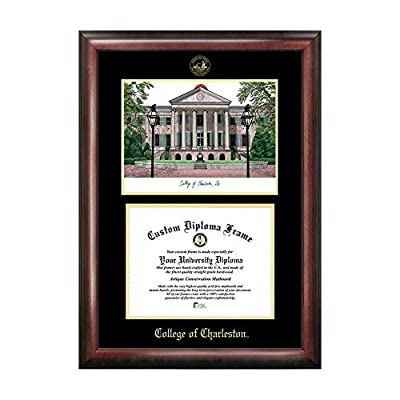 Campus Images College of Charleston Gold Embossed Diploma Frame with Campus Images Lithograph