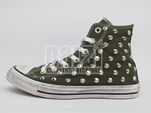 Converse all star Borchie borchiate verde herbal (prodotto artigianale )
